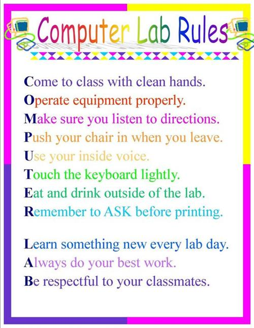 Ferry Elementary School Computer Lab Rules