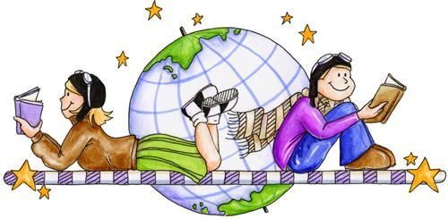 Image result for kids reading by a globe