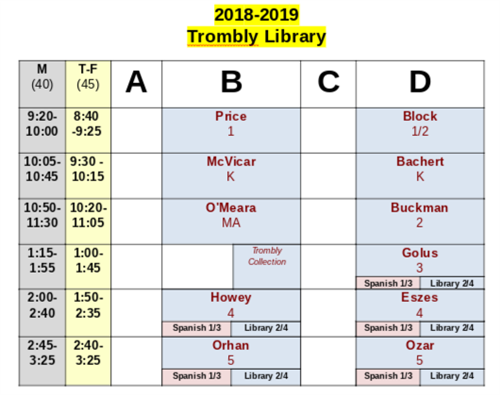 2018-19 library schedule